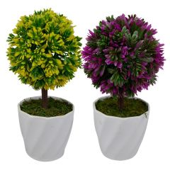 Artificial Flowers - Green plant indoor artificial Bonsai tree (Set of 2 )