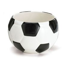 "Ceramic Soccer Ball Planter / Candy Dish, Black & White, Medium, 3.5"" x 3"""