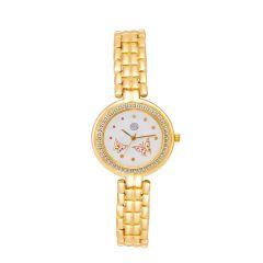 Shostopper Royal Gold White Dial Analogue Watch For Women (Product Code - SJ62034WW)