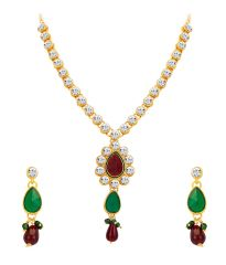 Shostopper Glorious Gold Plated Australian Diamond Necklace Set - Rosf