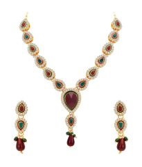 ShoStopper Marquise Gold Plated Australian Diamond Necklace Set