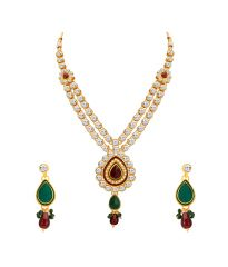 ShoStopper Gleaming Gold Plated Australian Diamond Necklace Set