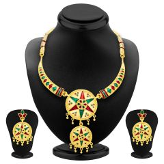 ShoStopper Exotic Gold Plated Meenakari Necklace Set SJ2036N