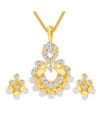 ShoStopper Artistically Gold Plated Australian Diamond Pendant Set