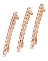 ShoStopper Blossomy Gold Plated Australian Diamond Set of 3 Hair Clip