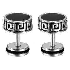 Men Style Crystal 8mm Barbell Dumbbell Silver and Black Stainless Steel Dumbell Stud Earring For Men and Boys (Product Code - SEr0120006)