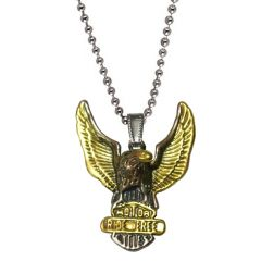 Men Style Dual Tone Freedom Eagle Standing Over Riders Gold And Silver 316L Stainless Steel Pendant For Men And Women (Product Code - SPn09091)