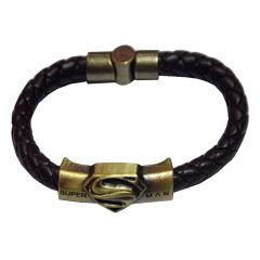 Men Style Superman Inspired ID Interlocking Brown And Gold Stainless Steel And Leather Round Bracelet  For Men And Women (Product Code -  SBr011001)