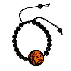 Men Style Chhatrapati Shivaji Maharaj Orange And Black Rubber And Crystal Bead Round Bracelet For Men And Women (Product Code -SBr001002)