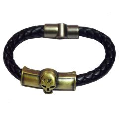 Men Style Skull head ID Interlocking Black And Gold Stainless Steel And Leather Round Bracelet  For Men And Women (Product Code -  SBr011003)