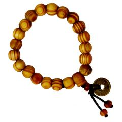 Men Style Buddha Buddhist Prayer Beads Tibet Mala With feng shui coin Wrist Yellow Wood Round Bracelet  For Men And Women (Product Code -  SBr011004)