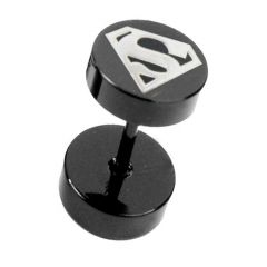 Men Style Black Dumbbell Shape superman inspired fashion Stud Earring - Er11006