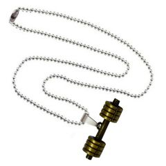 Men Style Bodybuilding Barbell Dumbbell Charm Gold And Black Zinc Alloy Dumbbell Necklace Pendant For Men And Boys  (Product Code -SPn001011)