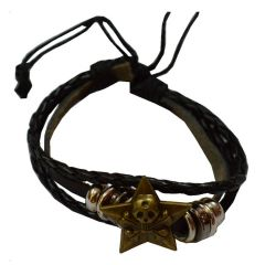 Men Style New Design Black And Brown Leather Round Bracelet For Men And Boys  (Product Code -SBr011016)