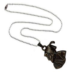 Men Style Chatrapati Shivaji Maharaj Silver And Brown Stainless Steel Necklace Pendant For Men And Boys (Product Code -SPn001023)