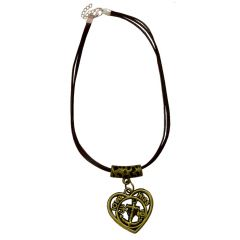 Men Style Anchor Charm With Heart Shape Gold And Brown Zinc Alloy Heart Necklace Pendant For Men And Boys (Product Code -SPn001026)