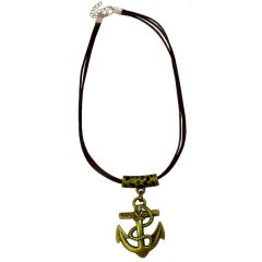 Men Style Engrave Men Fashion Gold and Brown Zinc Alloy Anchor Necklace Pendant For Men And Boys (Product Code -SPn001030)