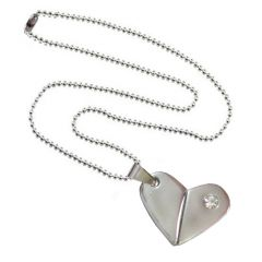 Men Style Rotational Two Colour Twice Style Heart Or Bullet Silver Stainless Steel Heart  Pendant (Product Code -  SPn011063)