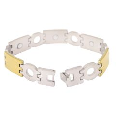 Men Style Bracelet with Magnet Stone Silver and Gold Stainless Steel Round Bracelet For Men And Boys (Product Code -PSBr001019)