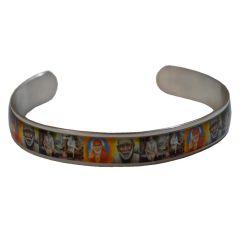 Men's Bracelets - Men Style Om Sai Ram Multicolour Stainless Steel Half Round Kada For Men And Boys (Product Code -SKa003001)