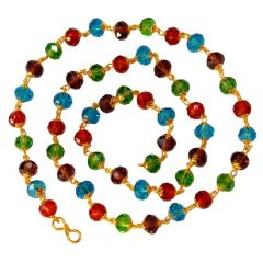 Men Style Handcrafted Swarovski 8 mm Golden Cap Crystal bead (53 Bead) Multicolor Crystal Link Necklace For Men And Women (Product Code -SMa003002)