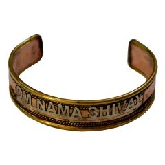 Men Style Om Nama Shivay Half Kada Brown Copper Round Cuff For Men And Women (Product Code -SKa003003)