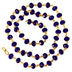 Men Style Handcrafted Swarovski 8 Mm Golden Cap Crystal Bead (51 Bead) Blue Silver Crystal Link Necklace For Men And Women (Product Code -SMa003003)