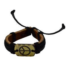 Men Style New Fashion Antique With Cotton Dori Black And Brown Leather Round Bracelet For Men And Boys (Product Code -SBr003006)