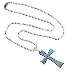 Men Style Jesus Cross With Bible Lord's Prayer Plated SPn003014 Blue And Silver Stainless Steel Cross Necklace Pendant  (Product Code -SPn003014)