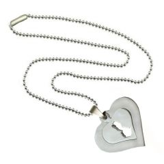 Men Style Two Hearts New Design  Silver Stainless Steel Square Necklace Pendant For Men And Women (Product Code -SPn003029)