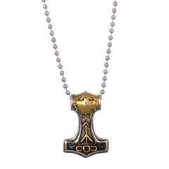 Men Style Hammer Knot Myth Mjolnir Gold And Silver Rhodium Plated Necklace Pendant For Men and Boys (Product Code -SPn003041)
