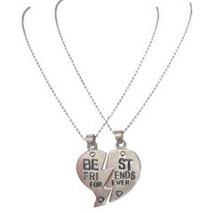 Men Style Friendship BEST FRIEND Heart Silver Tone 2 Charms 2 Necklaces Silver Zinc Alloy Heart Shape Pendent - (Code - SPn06064)