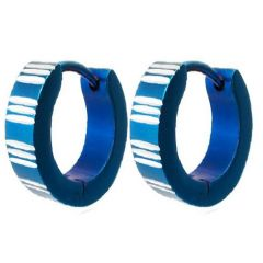Men Style Stripe Pattern Blue 316 L Stainless Steel Round Hoop Earring For Men And Boy (Product Code - SEr08005)