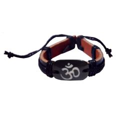 Men Style Om Black Genuine Leather Cotton Dori Bracelet  For Men And Women (Product Code -  SBr08008)