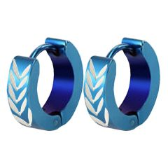Men Style Wheat Pattern Blue 316 L Stainless Steel Round Hoop Earring For Men And Boy (Product Code - SEr08008)