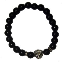 Men Style Semi-Precious 8mm Agate Stone Beads With Antique Silver Lion Head Gold And Black Crystal Round BraceletSBr08009)