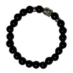 Men Style Semi-Precious 8mm Agate Stone Beads With Antique Gold BUDDHA Head Silver And Black Crystal Round BraceletSBr08011)