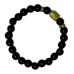 Men Style Semi-Precious 8mm Agate Stone Beads With Antique Gold BUDDHA Head Silver And Black Crystal Round BraceletSBr08013)