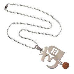 Men Style Rudraksha Om And Shivling  Silver Stainless Steel Om Pendant For Men And Women (Product Code - SPn08014)