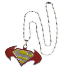 Men Style New Arrival Batman And Superman Inspired SPn08016 Red And Yellow Stainless Steel Pendant For Men And Boys (Product Code - SPn08016)