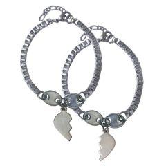 Men Style Top Selling Brokenheart Silver 316 L Stainless Steel Heart Bracelet  For Men And Women (Product Code -  SBr08019)