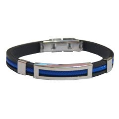 Men Style Custom Engraved Personalized Stainless Steel ID Tag Black With Mangnetic Fold Clasp Blue And Black Silicone Round BraceletSBr08025)