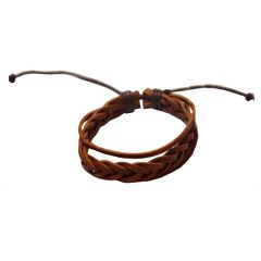 Men Style 2016 New Fashion Handmade Brown Leather Flat Bracelet  For Men And Women (Product Code -  SBr08037)