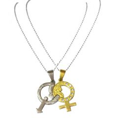 Men Style Couples His And Her Gold And Crystal Male And Female Symbol With Rose Silver And Gold Symbols Pendant (Product Code - SPn08047)