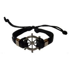Men Style Ship Wheel  Titanium Steel With Lace Up Black Leather Boat Wheel Bracelet  For Men And Women (Product Code -  SBr09013)