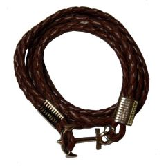 Men Style Multi-Layer Cable-Wire Rope Leather Anchor (SILVER) Brown Leather Anchor Bracelet  For Men And Women (Product Code -  SBr09016)