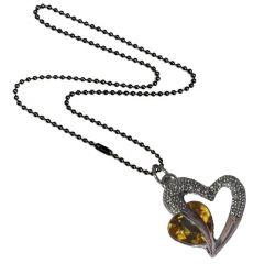Pendants (Imitation) - Men Style Love Heart Romanatic Yellow CrystalBlack Ball Chain Silver Cubic Zirconia Heart Pendant For Women And Girls (Product Code - SPn09029)