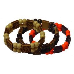 Men Style Om And Shree Ganesh With Pack 3 SBr09038 MUlticolour Wood Square Bracelet  For Men And Women (Product Code -  SBr09038)
