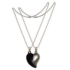 Men Style Couples Broken Heart Mangnetic Love  Gold And Silver 316 L stainless Steel Heart Pendant For Men And Women (Product Code - SPn09069)