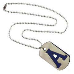 Men Style Alphabet A Letter  Silver And Blue 317 L Stainless Steel Square Pendant For Men And Women (Product Code - SPn09099)